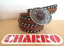 EL CHARRO Cintura in Pelle (4 x 128) + Fibbia (6.5 x 9) Made in Italy (PANINARO)