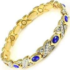 Womens MAGNETIC BRACELET carpal tunnel arthritis pain Ladies gold blue stones