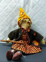 Halloween Witch Decor 18x13x3 Sitting Doll with cinnamon wand