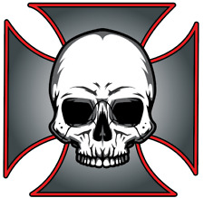Sticker Car Motorcycle Helmet Graphic Decal CHOPPER maltese cross skull biker