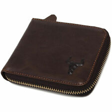 Mens Handmade genuine Leather Zip Around Wallet Purse Coin Pocket  card slots