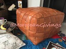 XXL Moroccan Contemporary,Luxurious design,100% Leather Square Pouffe Camel /Br