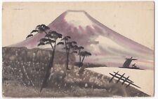 Japan; Hand Painted View of Mount Fuji PPC, Maidstone 1924 PMK