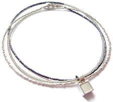 DYRBERG KERN lange Halskette mit Anhänger, silbern/grau