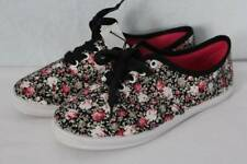 NEW Womens Tennis Shoes Size 8 Floral Roses Flats Canvas Lace-Up Casual Sneakers