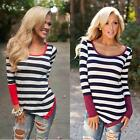 Popular Women Striped Long Sleeve Crewneck Loose Casual Blouse Tops T Shirt