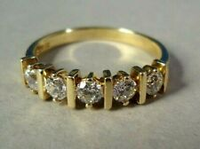 """14K Yellow Gold Ring w/ 5 Round Cubic Zirconia, Signed """"DO"""", 3.3g, Size 8 3/4"""