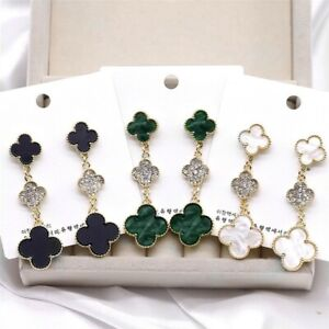 Fashion New Design Korean Style Clover With Diamonds Earrings 925 Silver