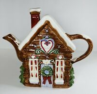 Cabin Ceramic Pitcher Cookie🍪 Jar Christmas Winter Living Quarters Alpine Lodge
