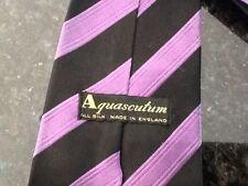 Aquascutum Black & Purple Stripe Silk Tie RRP £90