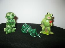 3 vintage frog figurines
