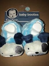 Gerber Baby Boy Blue Booties with Puppies Size 0-6M New