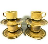 4 Fuji Stone Sahara Cups and Saucers Coffee Tea Japan Vintage 1970s