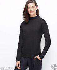 NWT ANN TAYLOR Funnel Mock Neck Sweater Drop shoulders Black SIZE M 355279