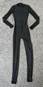 Size XS Black Ann Summers SLOANE Mesh Jumpsuit High Neck Tight Fit Goth Chic 90s