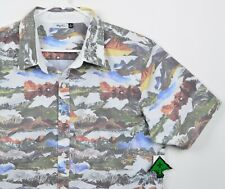 LRG Wovens Men Sz XL Lifted Research Group Mountains Collage Button-Front Shirt