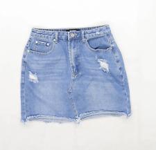 Missguided Womens Size 8 Denim Blue Distressed Skirt (Regular)
