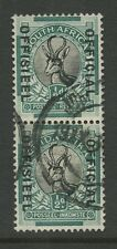 SOUTH AFRICA OFFICIAL VARIETY 1930 COBWEB on HORNS SGO12c VERTICAL PAIR FU