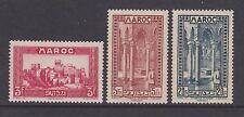French Morocco - SG 189/90, 192 - mint no gum - 1933/4 - 3f, 5f & 20f