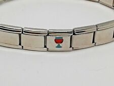 Bracelet Pugster Italian Charm Green Red Wine Glass Link Stainless