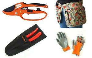 Secateur - Ratchet CleanAcut, 30% Less Effort, Gloves, Tool Apron and Holster