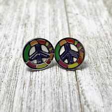 Small Peace Earrings Stainless Steel Chrome Peace Sign Earring NEW