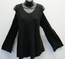 Sweater 2X Plus Style&Co $59 NWT Black Ribbed-Knit Tunic Cold Shoulder  ZA27