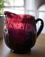 "Vintage Amethyst Art Glass Ewer Pitcher Vase - Purple 8"""