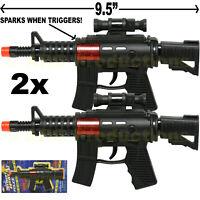 SET OF 2 - MACHINE GUN TOY POLICE ASSAULT PISTOL M-16 RIFLE TOY SOUND BLACK
