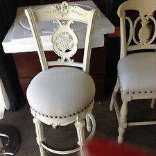 """Frontgate Provencal Carved Grape White Fabric Barstool BAR stools chair 30"""" bskt"""