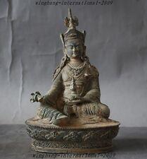 Old Tibet Buddhism Temple bronze Guru Rinpoche Padmasambhava Vajra Buddha Statue