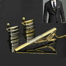 Fashion Men Necktie Tie Bar Clasp Clip Cufflinks Sets Gold Simple Party Gift New