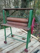 Vintage Mid Century Tri-ang Cast Iron Red & Green Child's Mangle Wooden Rollers