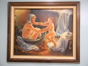 "Vintage Original Oil PAINTING ""Jessica's Bath"" by Gayle N. Fisher"