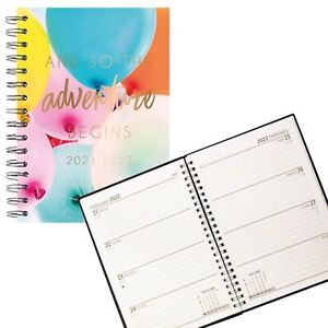 2021 - 2022 Academic A5 Week To View Hardback Student Diary 3095 - Balloons