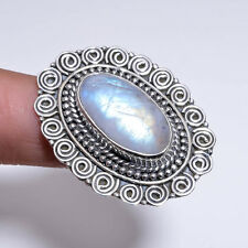925 Solid Sterling Silver Ring Size US 6.75, Rainbow Moonstone Jewelry CR3039