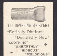 Develine Whistle Bicycle Siren c 1894 Mossberg Wrench Co Attleboro MA Trade Card