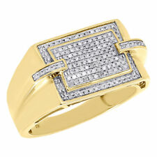 10K Yellow Gold Mens Genuine Round Diamond Pave Pinky Ring Square Top 0.33 Ct