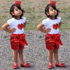 Sequins 2PCS Baby Kids Girls Cotton Tops Shirt+ Pants Outfits Set 2-11Y