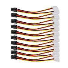 10PCS Molex (4 Pin) to PCI-E (6 Pin) Power Converter Adapter Cable Connector Lot