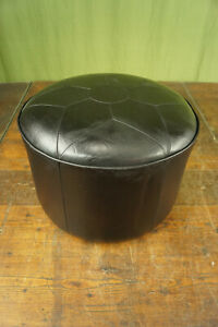60er Vintage Stool Seat Cushion Pouf Black Leather Ottomane Footrest