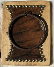 WESTERN RUSTIC COWHIDE EMBELLISHED TOWEL RING, SOLID WOOD,FRENCH TACKS