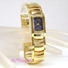 OMAX Seiko Movt Gold PL Blue Rainbow MOP Dress Watch w/ Swarovski Crystal JES610