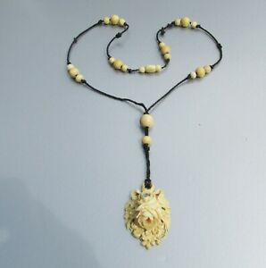 RARE Antique Victorian Carved Faux Bovine & Saphiret FLOWER Macrame Necklace