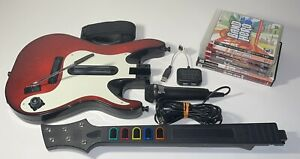 Guitar Hero 5 Band Hero Wireless PS2/PS3 Guitar Bundle W/ 6 Games, Dongle & Mic