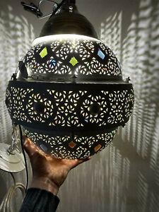 "Vintage 15"" Brass Moroccan/Morocco Hanging Ball/Pendant Lamp/Light w/Glass Beads"