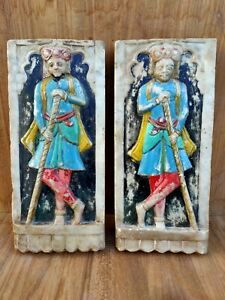 Antique Marble Darbar Man Statue Hand Painted Temple Door Statue Figure 2 pc Old
