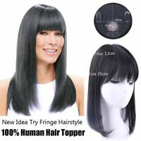 100% Human Hair Topper Toupee Clip Hairpiece Bob Top Topper With Bangs-Us Ship