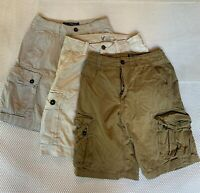 "*LOT OF 3* American Eagle Outfitters 28 x 10.5"" Khaki Cream Classic Cargo Shorts"