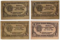 Five Wooden Nickles Malden's Tercentenary Celabration Malden Mass. 1949 Lot of 4
